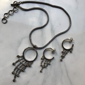 Lois Hill necklace/earring set sterling silver
